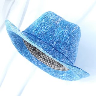 Tannin blue smudge dyed gentleman hat (Fedora)