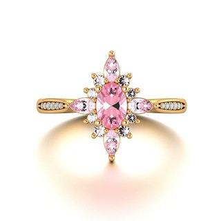 【PurpleMay Jewellery】18k Yellow Gold Pink Sapphire Elegant Cluster Ring R050