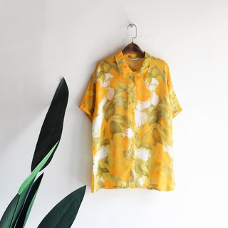 Yamagata goose yellow scattered flower green leaves scattered spring time antique silky spinning shirt shirt shirt