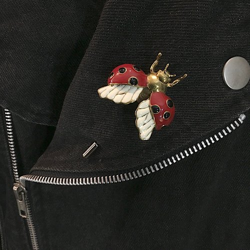 ladybug Lapel Pin in brass with enamel color