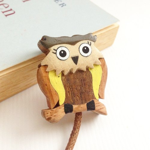 【Handmade wooden x owl leather rope bookmarks】 ✦ January