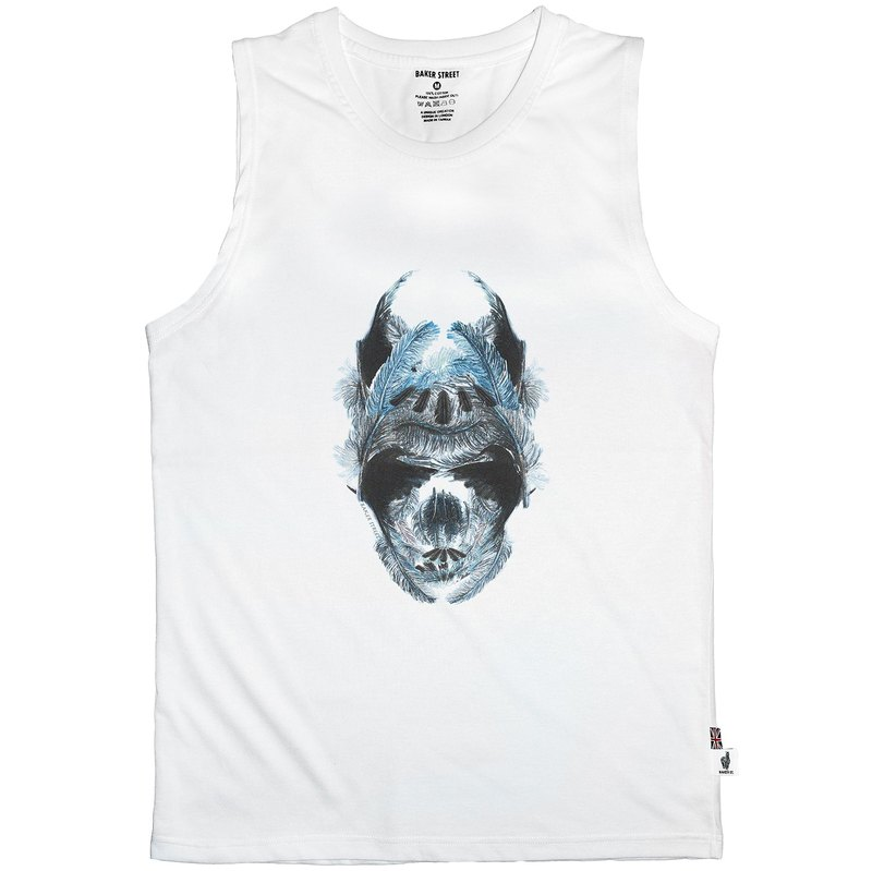 British Fashion Brand [Baker Street] Blue Feather Skull Printed Vest