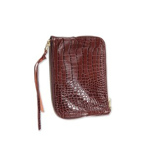 Double Sided Zipper Bag / Double Face / Natural Cowhide Embossed / S / Brown Embossed / Manual Limited