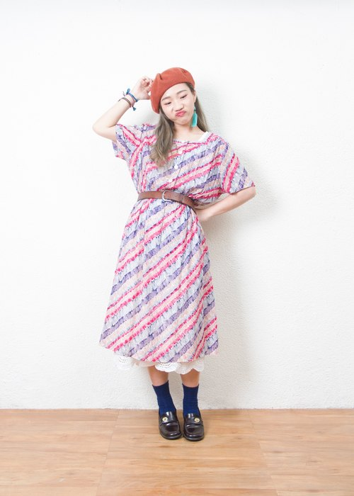 Banana cat. Banana Cats Square Striped Pink Purple Cotton Short Sleeve Antique Dress