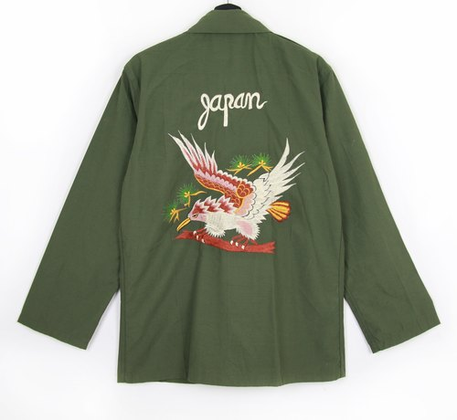 Back to Green :: Military Embroidered Shirt Jacket Embroidery Songs & Birds // Both Men and Women Wear // vintage (J-05)