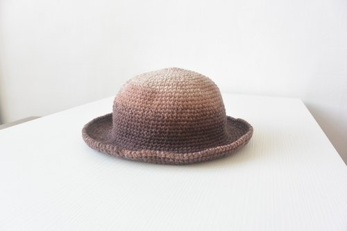 Handmade knit cap Dome - Coffee
