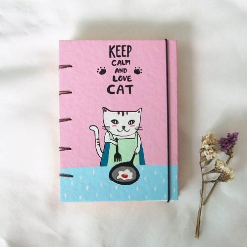 I'm cat , I can cooking., Notebook Painting  Handmadenotebook Diary Journal  筆記本
