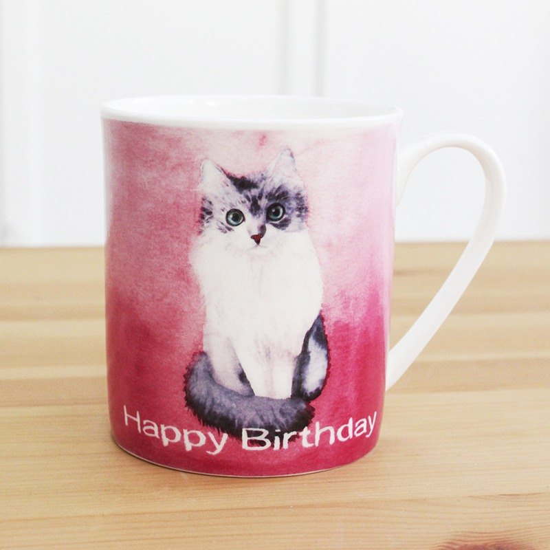 Bone China Mug - Birthday Puppet Cat