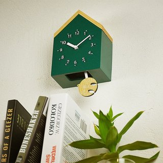 Rovine - Cabin Silent Swing Clock Wall Clock (Green)