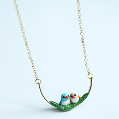 Bird's love necklace - polymer clay handmade necklace