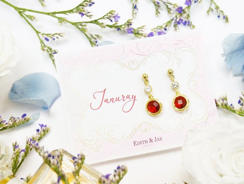 Edith & Jaz • Birthstone with CZ Collection-Garnet Quartz (Jan) Earrings