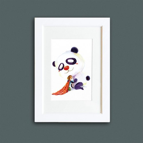 9cm zoo hug series - Superstar Panda replica painting (with frame)