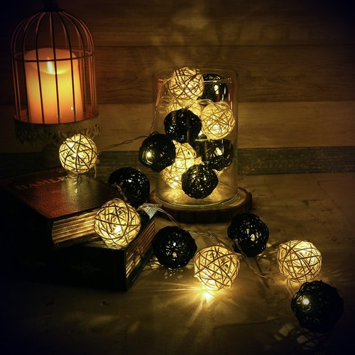 "HomePlus LED Atmosphere Rattan Ball Lights - Black ""Battery"" 2m long"