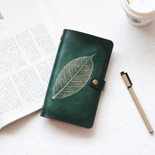 Such as the first layer of cowhide leaves embossed dark green A6 loose-leaf notebook handmade leather notebook free engraving 19*11cm