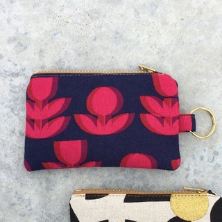 钥匙圈/零钱钞票钥匙包, Slim Pocket Zip Purse, Red Flowers Optical Illusion