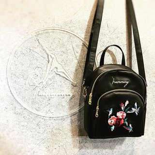 humming | embroidery mini backpack | March | waterproof black | back, side back
