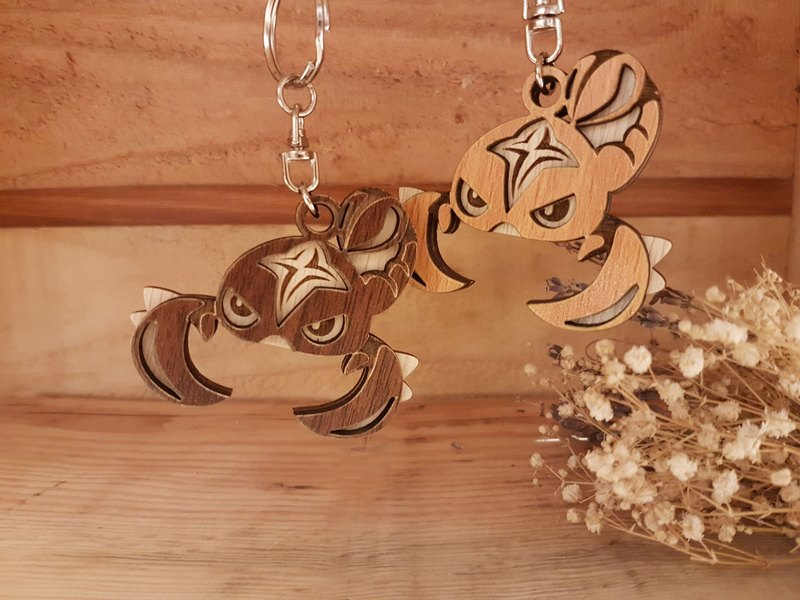 "Taiwan stack ""my zodiac! My life! ""Customized Woodcarving Constellation Charm - Scorpio Gift / Key Ring"