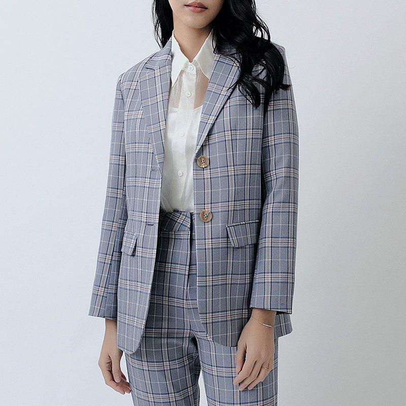 哥倫比亞格紋大口袋長版西裝外套