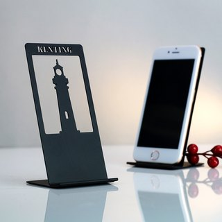 [OPUS Dong Qi Metalworking] Kenting Lighthouse - City Memory Phone Holder (Black) / Continental Iron / Architectural Design / Business Card Storage Display / Boy Gift / Birthday Gift CP-li32 (B)