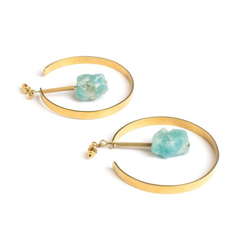 天河石圓弧耳針 Amazonite circle earrings