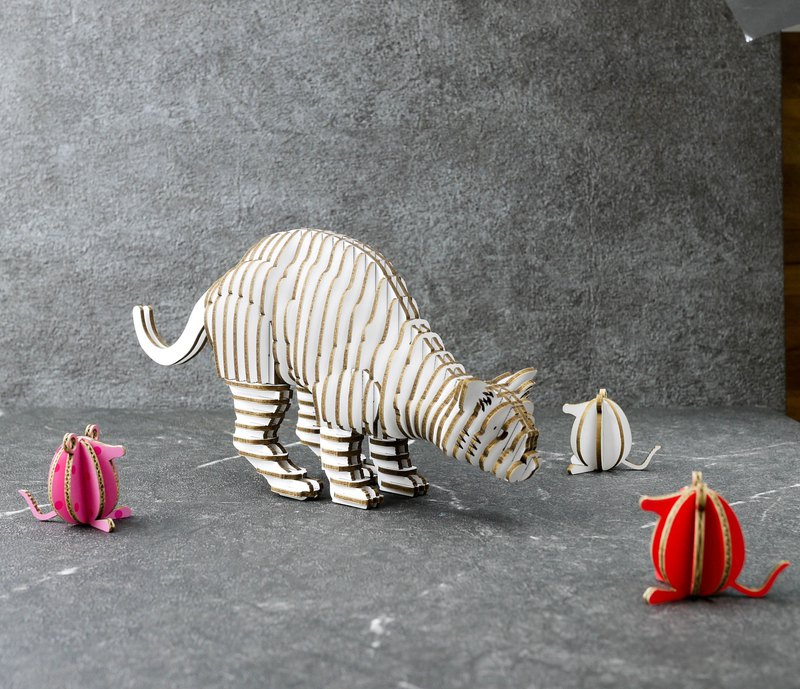 THANK CAT/3D Craft Gift/DIY/White