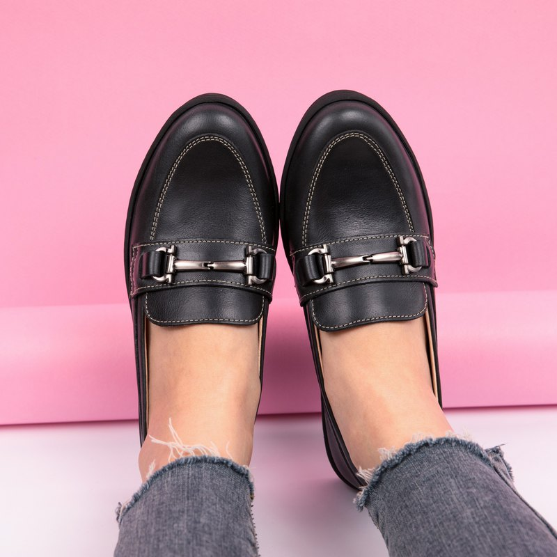 Silver buckle loafers _ black