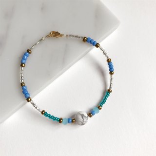 Temperament • White Turquoise • Double Color Blue Bead • Bracelet Bracelet • Gift