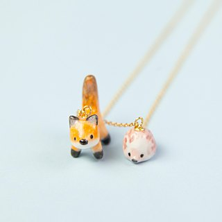 Fox and baby porcupine handmade necklace