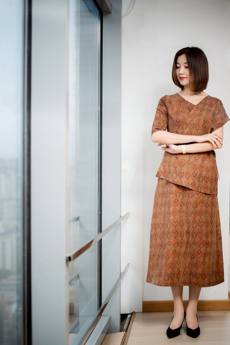 [Product Xiangyun yarn] autumn new dress a leaf a Bodhi