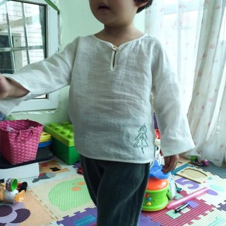 Dark green pure linen trousers - children's wear