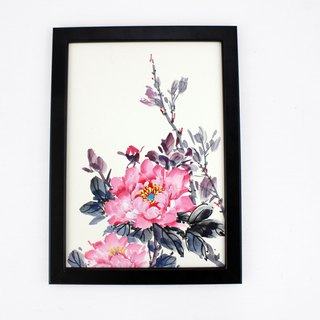 Hand-painted painting table, peony flower, home decoration, decoration (with picture frame)