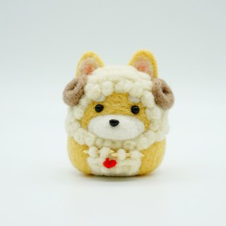 Knitted sweater, sheep, Shiba, wool, felt, dog, home decoration, office, small key ring, car decoration