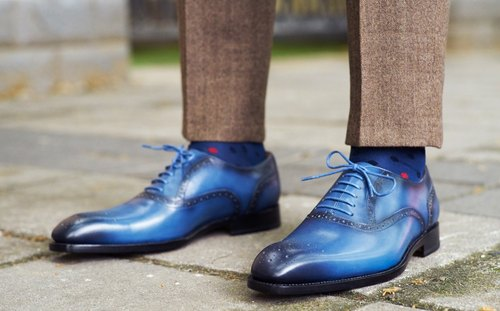 Blue half carved Oxford leather shoes Goodyear stitching handmade