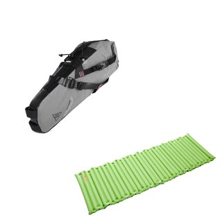 Xtouring ultra lightweight full waterproof seat cushion bag / faucet bag single inflatable sleeping pad set green