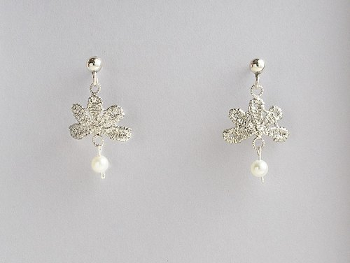 Gothic style lace pearl pin earrings handmade 925 sterling silver