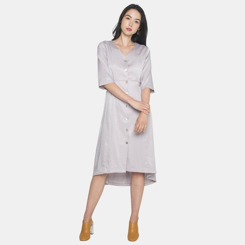 Buttoned Dress with Back Tie (Grey)