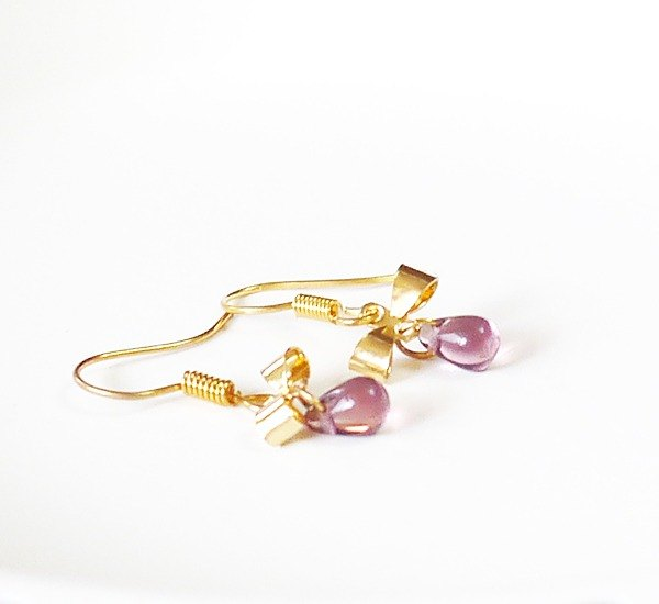 SL257 Light you up grape bow earrings