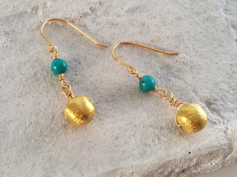 Natural turquoise K14GF Vermeil earrings / earrings