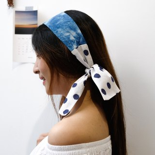 Free post blue dyed remix printing hair band retro wave point spell blue dyed wave point blue dyed hair with tie bag decoration