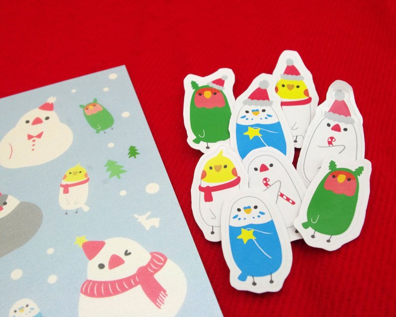 Set of Christmas Bird Forest Postcard + Sticker