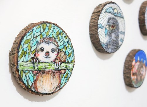 Limited - healing hand-painted wooden Videos (coaster) - tree lazy smile