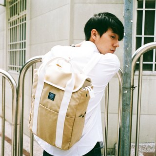 Canvas backpack _ khaki white (limited color / stock)