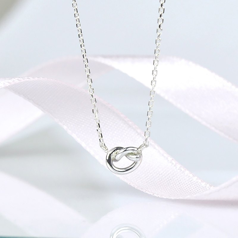 Tiny Love Knot Necklace / Heart Knot / Sterling Silver