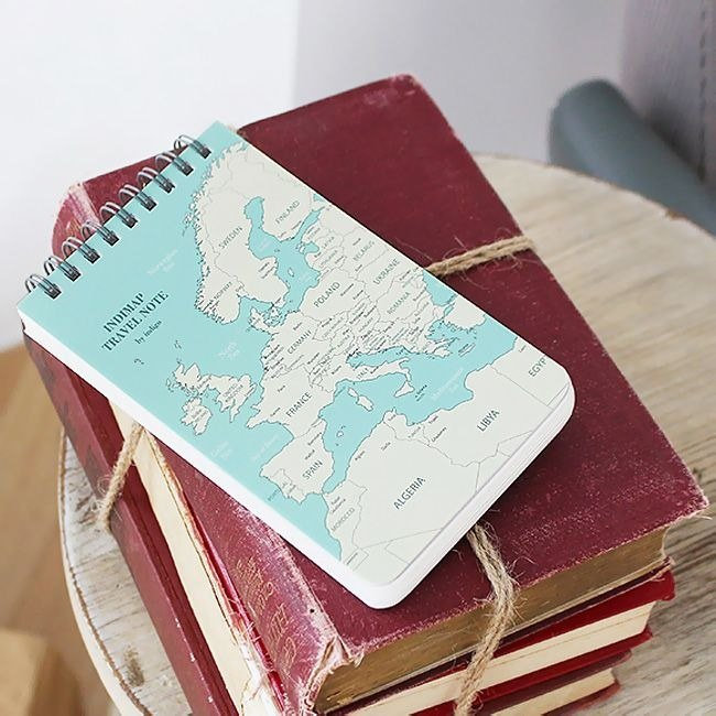 indimap world map notebook - mint green, IDG07423