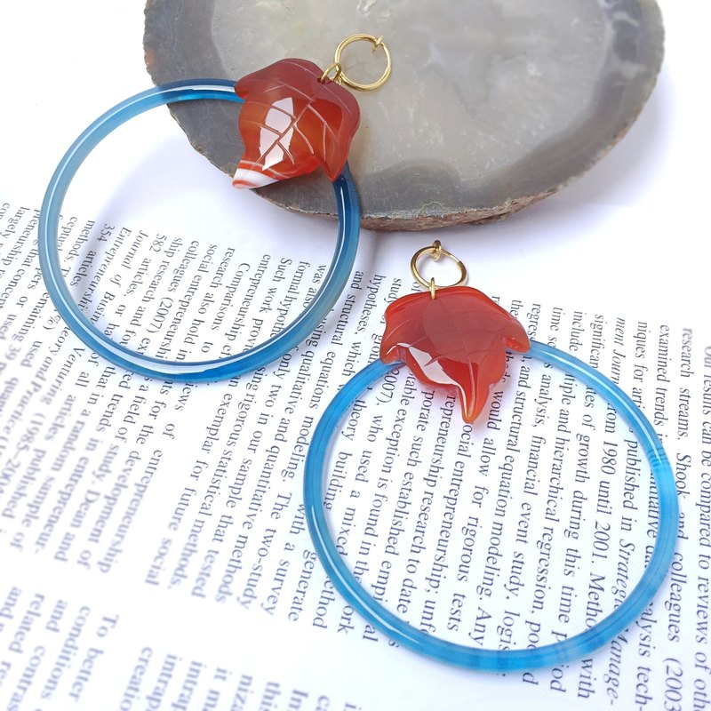 Stylish Indigo blue gemstone handmade drop earrings