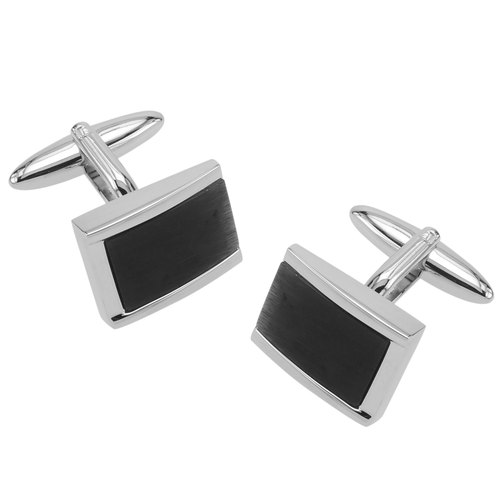 Beveled Black Catseye Cufflinks