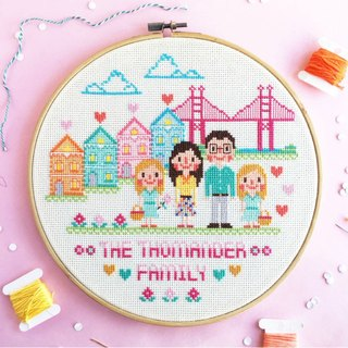 "Custom Cross Stitch KIT - Custom Family Portrait (8""Hoop KIT) Family & Couples"