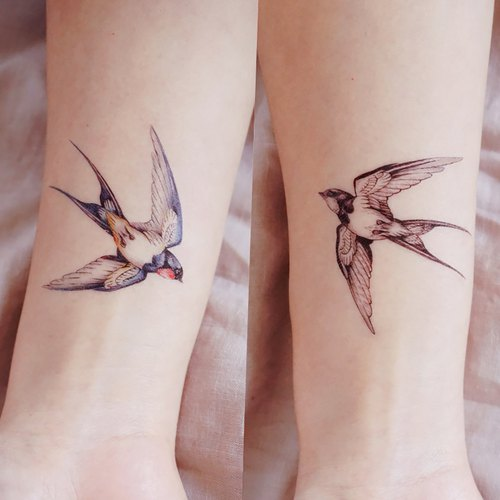 LAZY DUO Temporary Tattoo Stickers Swallow Bird Watercolor Illustration Artistic