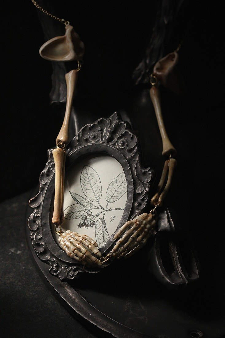 Hand Skeleton Necklace by Defy , Skeleton Necklace , Anatomy Jewelry , Hand bone Painting Necklace