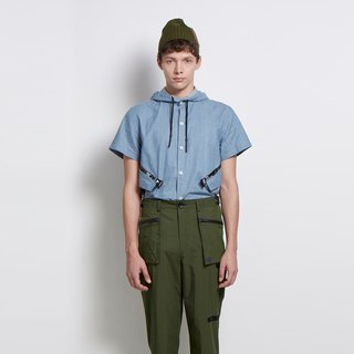 Rainy record - short brim collar short-sleeved shirt - light blue
